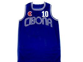 Drazen Petrovic #10 Cibona Croatia Basketball Jersey Blue Any Size  image 4