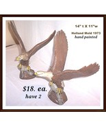 2 Hand  Painted American Eagles 1973 Mold Ceramic - $18.00