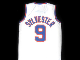 Sylvester Pussycat #9 Tune Squad Space Jam Basketball Jersey White Any Size image 4