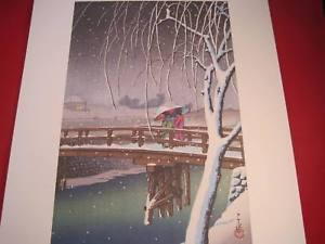 Hasui Japanese Woodblock reprint Edo River 1932 Japanese woodblock poster