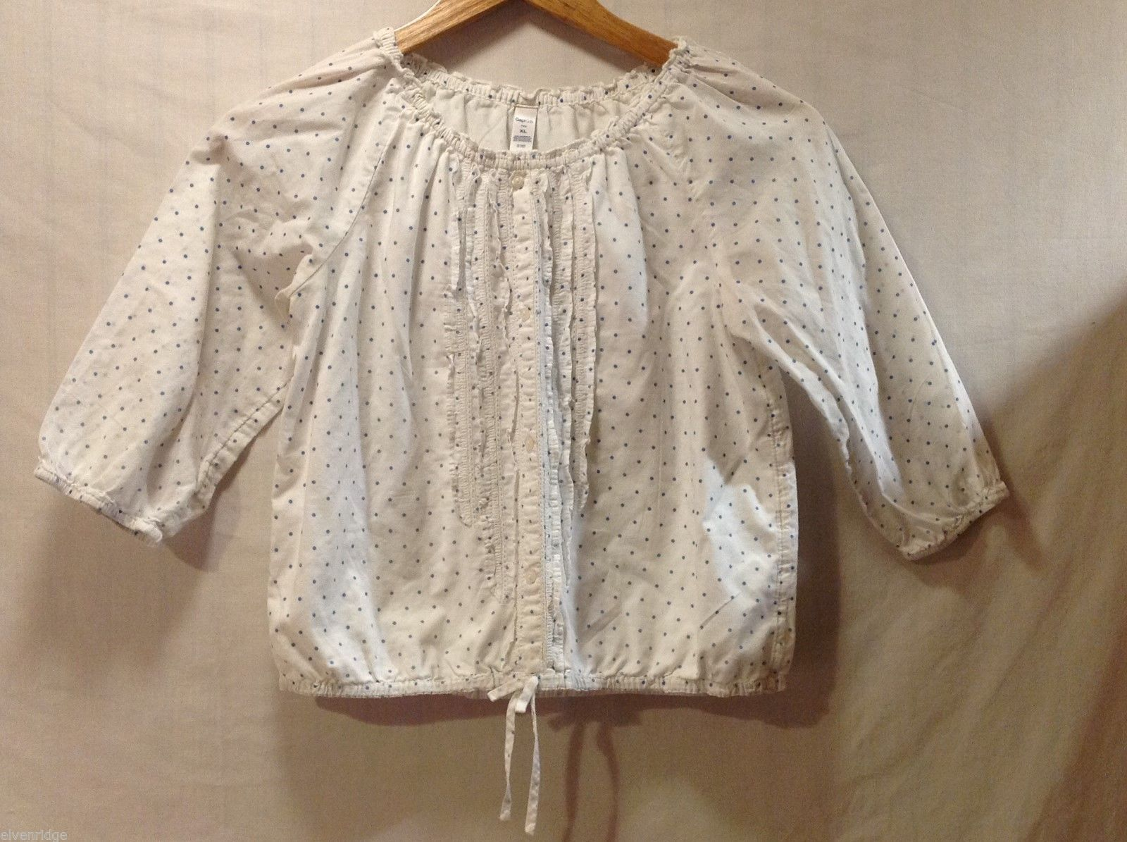 Girls GAP Kids White Polka Dotted Shirt, Size XL