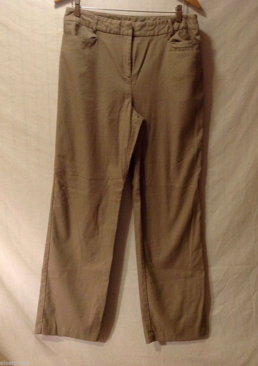 Christopher & Banks Women's Size 12 Soft Pants in Tan Brown w/ Light Pinstripes