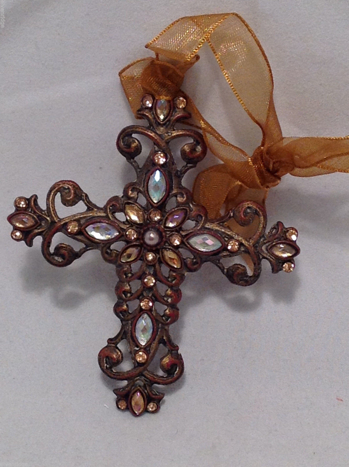 Crucifix Ornament Iridescent White & Yellow Faux Stones in Cross w/ Gold Ribbon