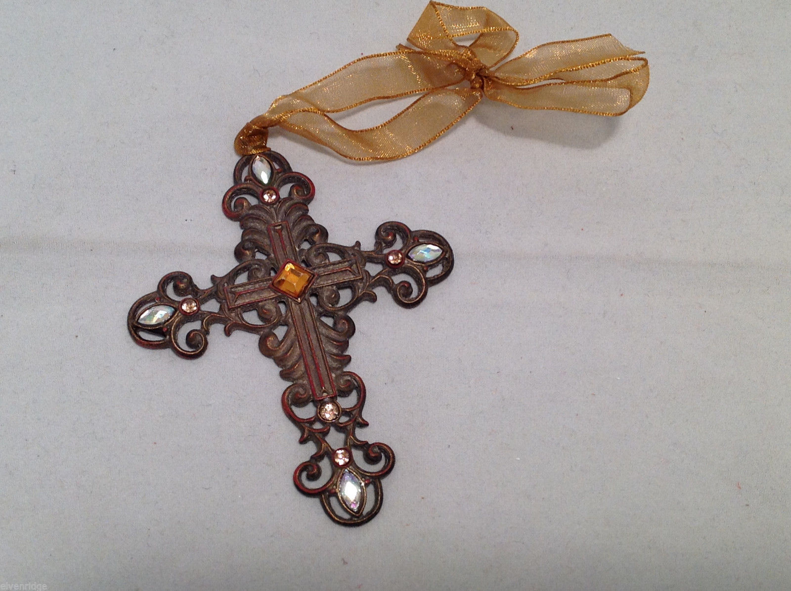 Crucifix Ornament Orange & White Faux Stones in Filigree Cross w/ Gold Ribbon