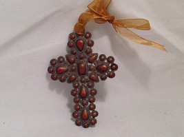 Crucifix Ornament Opaque Red Faux Stones in Filigree Style Cross w/ Gold Ribbon