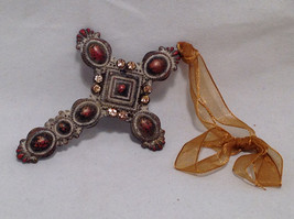 Crucifix Ornament w/ Faux Brown Diamonds, Opaque Red Stones Cross & Gold Ribbon