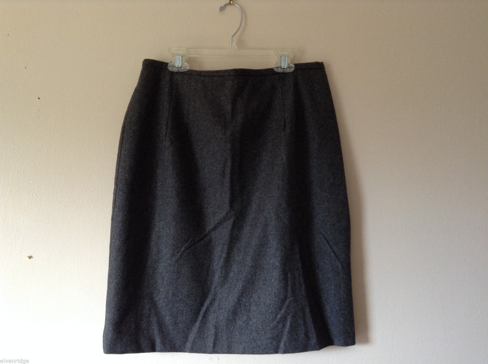 Delicia Women's Size 12 100% Wool Dark Gray Skirt w/ Back Vent Slit & Pocket