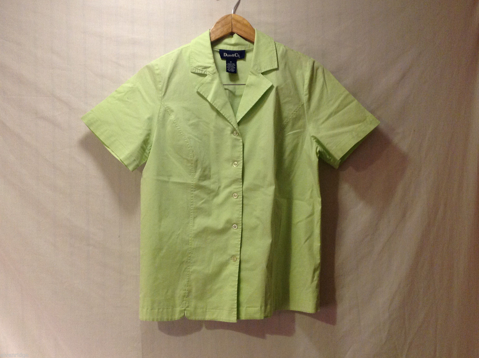 Denim & Co. Women's Size M Lime Green Button-Down Cotton Shirt w/ Short Sleeves