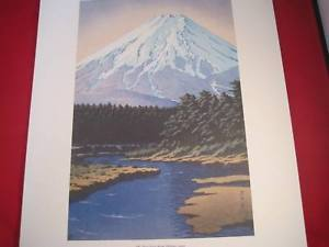 Hasui Japanese Woodblock  reprint poster Mt. Fuji from Oshino 1942
