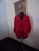 Notations Blouse Top Size 1 X Red Black Trim  Nwt - $16.98