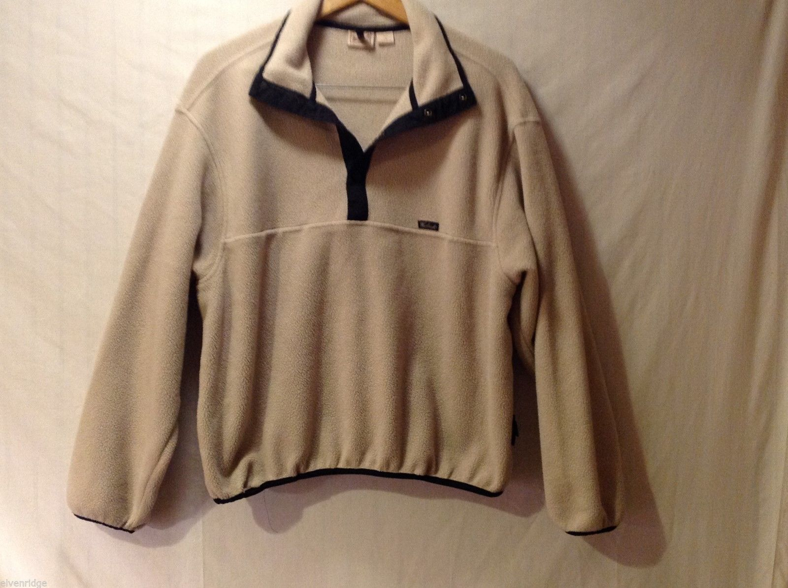 Mens Woolrich Tan Fleece Pullover Sweatshirt, Size Large
