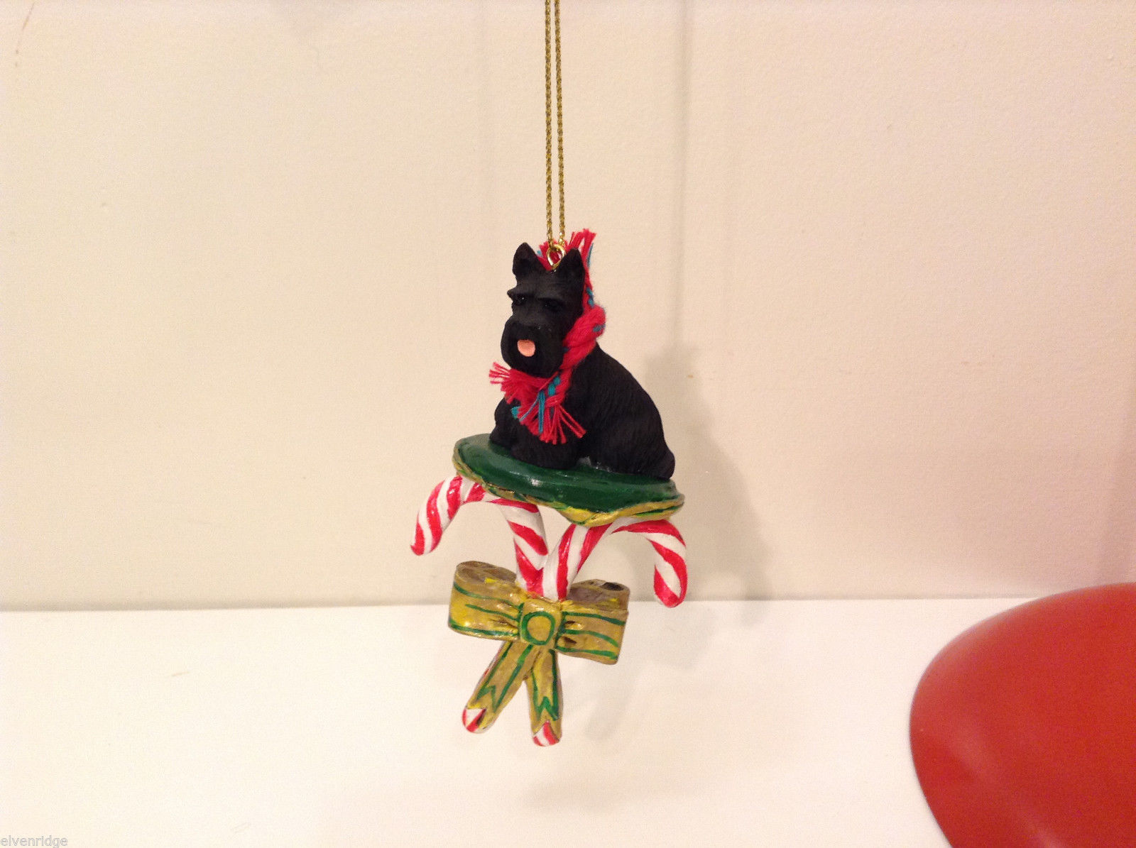 Scottish Terrier Dog Candy Cane Ornament with Red Green Removable Scarf