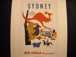 Vintage Reprint Color Travel Ad 1959 Air India Sydney Australia Poster Kangaroo