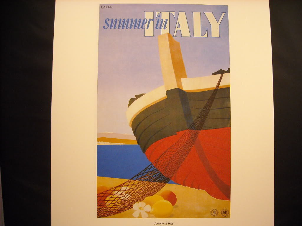 Vintage Reprint Color 1951 Travel Ad Summer in Italy Lalia Cruise Boat Poster