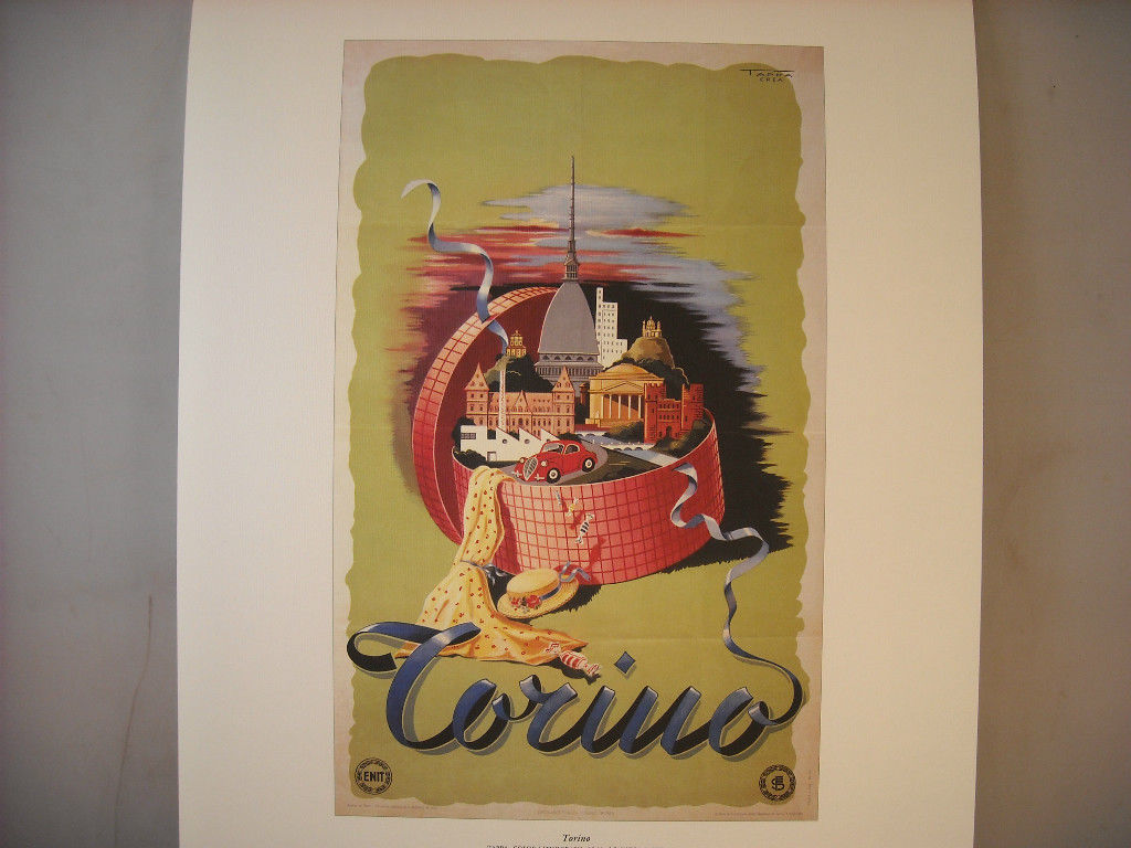 Vintage Reprint Color Travel Ad for Torino Italy 1949 French