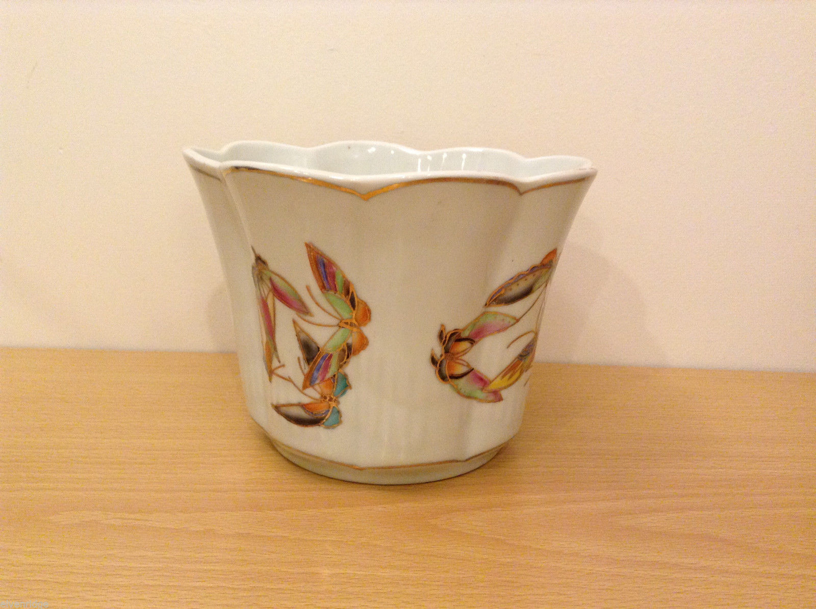 Vintage White Porcelain Pottery Vase with Moths Butterflies Hand Painted