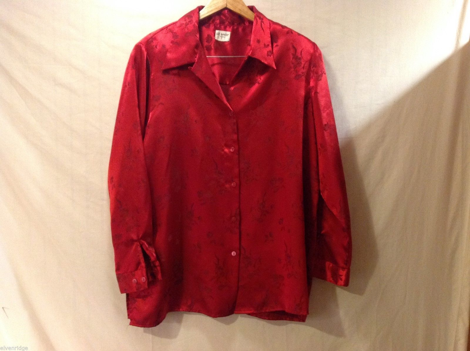 Womens Liz Baker Red Silk Blouse, See Measurements for Size