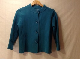 Womens Charter Club Turquoise Button Up Sweater, Size Medium
