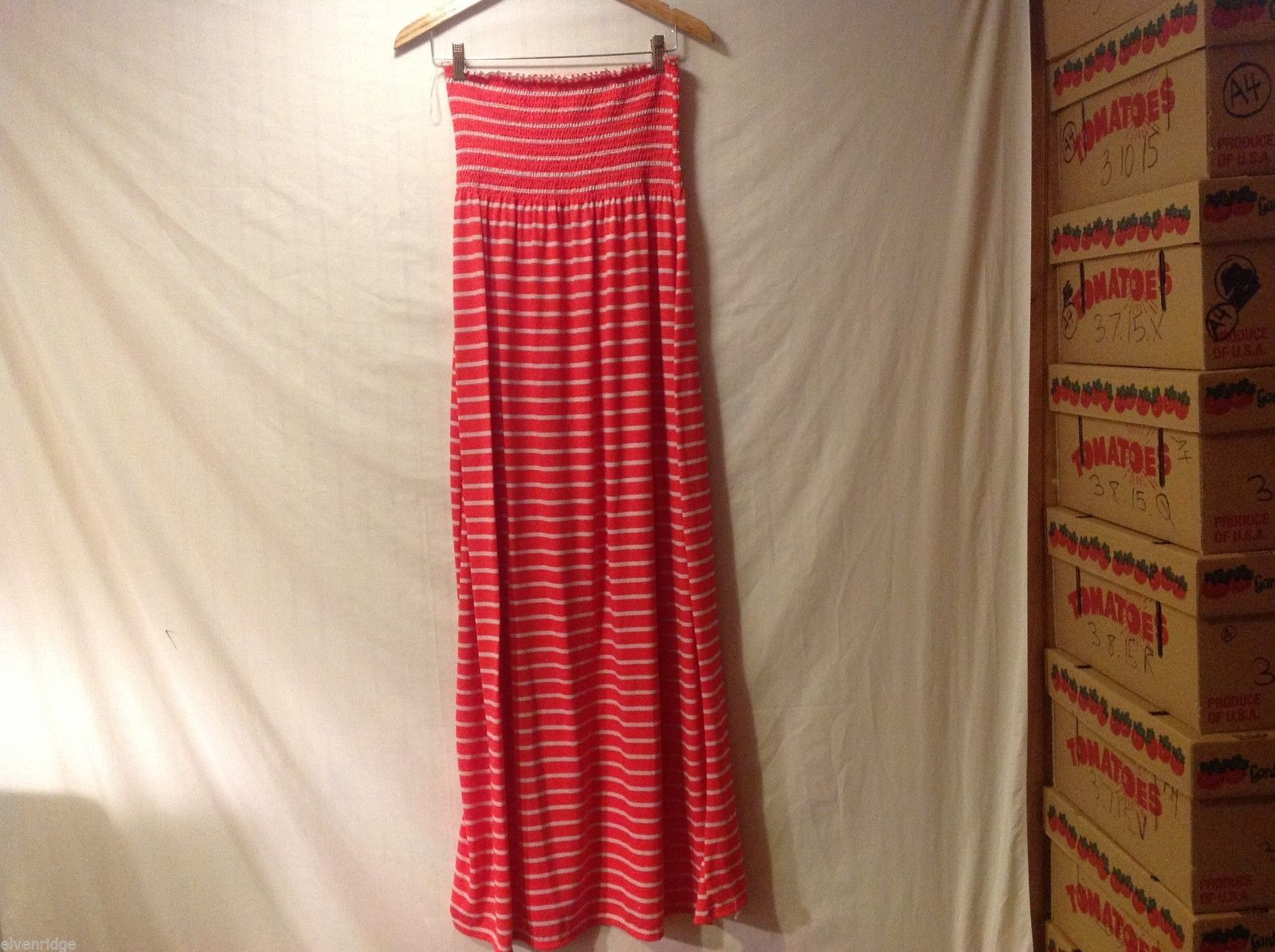 Womens Faded Glory Coral Colored Striped Maxi Dress, Size 12-14
