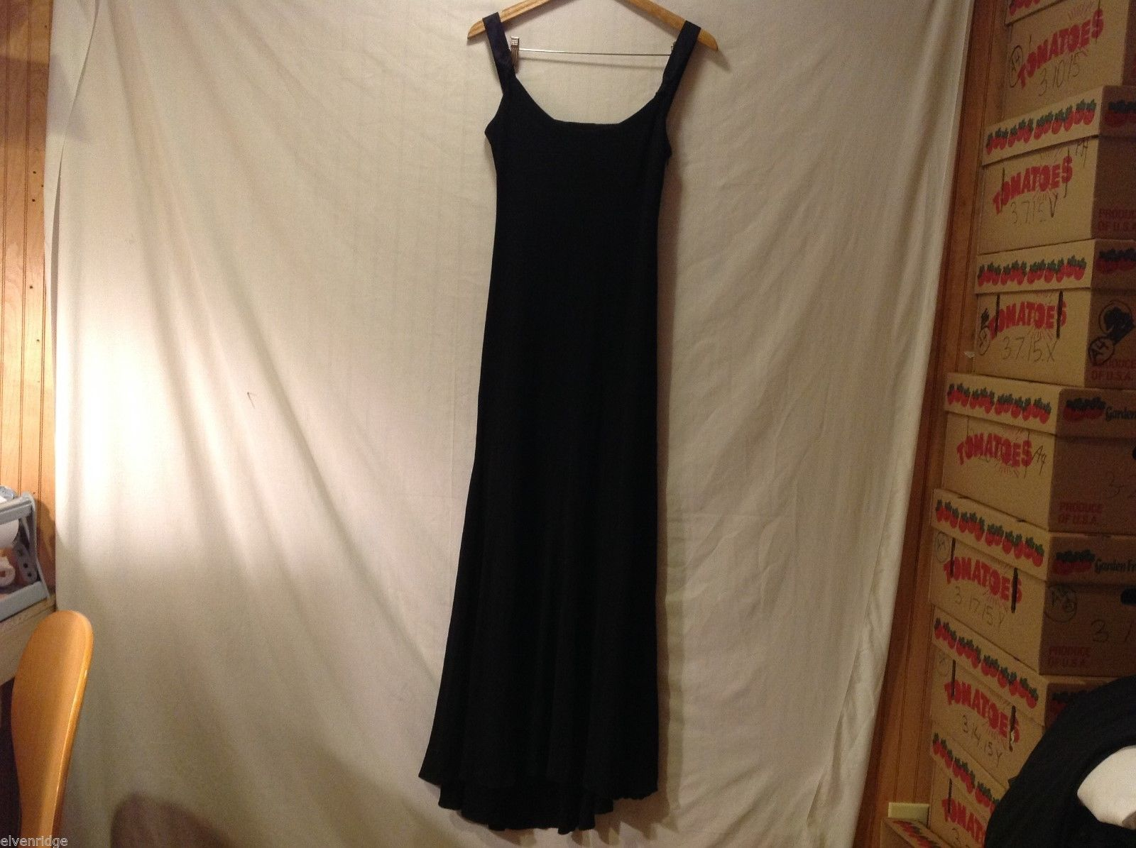 Womens Long Black Evening Gown, see measurements for size