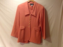 Womens Sunny Names Coral Colored 2 Piece Suit (Blazer and Skirt), Size 14