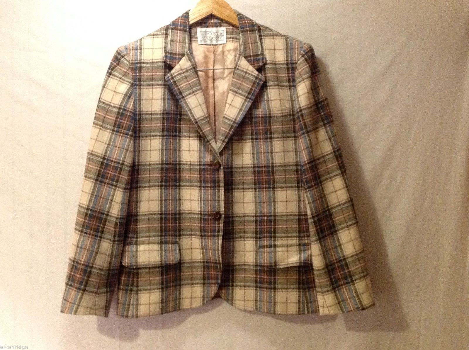 Womens Sports Galore Plaid Blazer, See measurements for size