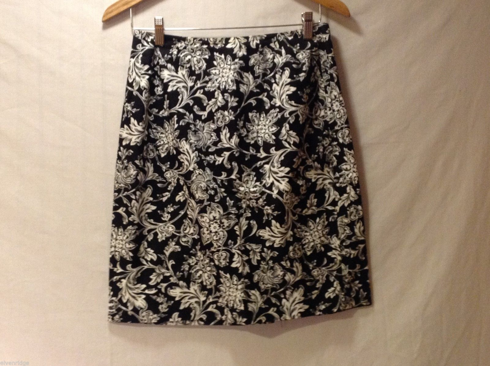 Womens Talbots Black Floral Short skirt, see measurements for size