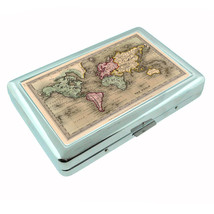 Vintage World Maps D4 Silver Cigarette Case / Metal Wallet Card Money Holder - $8.86