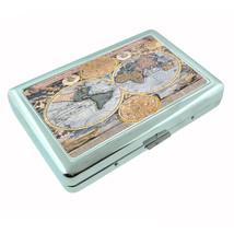 Vintage World Maps D15 Silver Cigarette Case / Metal Wallet Card Money Holder - $8.86