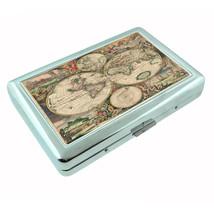 Vintage World Maps D7 Silver Cigarette Case / Metal Wallet Card Money Holder - $8.86
