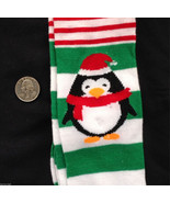 Novelty GREEN STRIPE PENGUIN SANTA ELF KNEE HIG... - $5.91