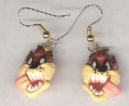 Funky TAZ TASMANIAN DEVIL HEAD EARRINGS Crazy Looney Tunes Charm Costume... - $7.19