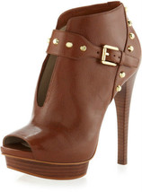 MICHAEL KORS Ailee Open Toe Leather Ankle Boots Walnut Size 9.5 M NIB - $185.00