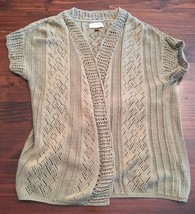 Sonoma Womens Knit Top Cotton/Acrylic Open Cardigan Sweater Sz L Green - $14.03