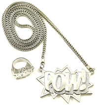 POW Set New Pendant Necklace 36 Inch Franco Style Chain With POW Solid Ring - $35.25+
