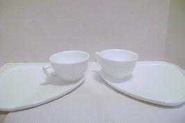 Indiana Milk Glass 2 White Orange Blossom Snack Luncheon Plate & Cup Setsdsc00 - $12.00