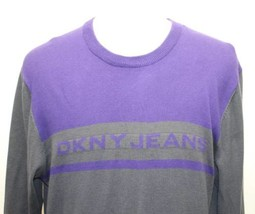 DKNY Jeans Violet Gray Sweater Men 100% Cotton Large Fall Fitted - $27.96