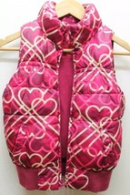 Joe Fresh Girl Kid Outerwear Puffer Vest Lined Winter Sz M Heart Pink Vi... - $10.30