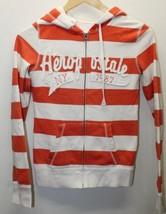 Aeropostale Hoodie Women Orange White Stripe Cotton XS Sweater Cold - $11.39