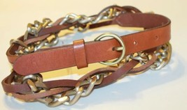 Esprit Women's Braided Leather And Metal Belt Size Medium Made In Italy ... - €21,33 EUR