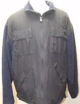 Timberland Men Jacket Zipper Large Hungary Black W Blue Fur Lining Winter - $46.39