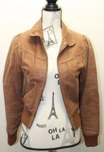 Atmosphere Brown Women Size 8 100% Leather Motorcycle Jacket Lined Spain - $65.09