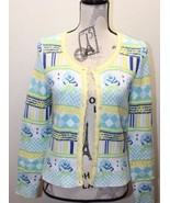 Kenzo Studio Women Cardigan Sweater Lime Yellow Blue Cotton Medium Buttons - $46.39