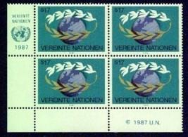 UNITED NATIONS---VIENNA Scott # 72-3 VF NH Imprint blks of 4 (6359943) - $3.47
