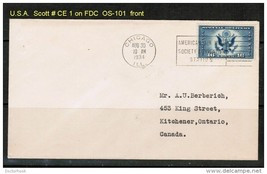 U.S.A. SCOTT # CE 1 on FDC CHICAGO (AUG. 30 1934) (OS-101) - $14.85