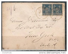 FRANCE #91 PAIR ON 1888 COVER - Paris to New York  (Cover-39) - $7.87