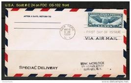 U.S.A. SCOTT # C 24 on FDC N.Y. (MAY 16 1939) (OS-102) - $24.75