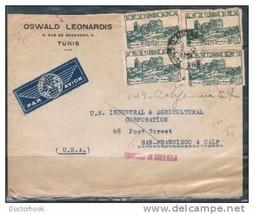 TUNISIA 1947 Tunis,Tunisia COMMERCIAL Air Cover to San Francisco USA (Co... - $4.90