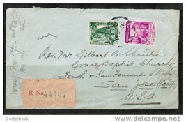 "PERU 1940 REGISTERED COVER to ""San Jose, California, USA"" w/wax seal (Co... - $4.90"