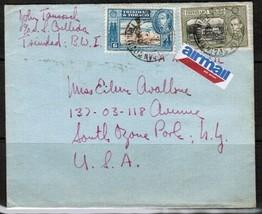TRINIDAD & TOBAGO Scott # 55 & 58 on 1940 AIRMAIL COVER to NY. USA (OS-173) - $3.91